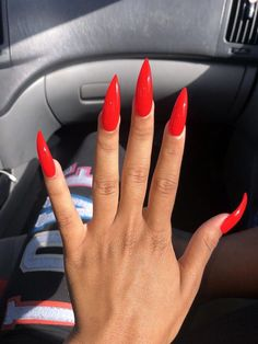 Image in Red stiletto nails! Acrylic Nails Stiletto, Almond Acrylic Nails, Cute Acrylic Nails, Simple Stiletto Nails, Coffin Nails, Aycrlic Nails, Sexy Nails, Long Red Nails, Short Nails