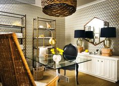 Suzie: Pieces Inc - Atlanta Homes Mag - Fantastic office design with David Hicks Hexagon ...