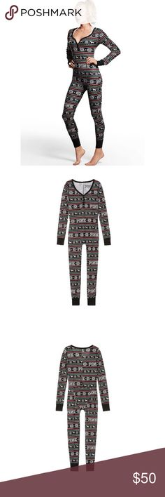 🆕[pink victoria's secret] thermal long jane • style name: thermal long jane • color: holiday fair isle/pure black • see product details from company website above • sold out online • condition: nwt, never worn ____________________________________ ✅ make an offer!     ✅ i bundle!                      ⛔️ posh compliant closet & no trades PINK Victoria's Secret Intimates & Sleepwear Pajamas