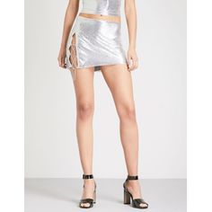 POSTER GIRL Zeina metal-mesh mini skirt ($220) ❤ liked on Polyvore featuring skirts, mini skirts, fitted skirt, short skirt, fitted mini skirt and elastic waist mini skirt