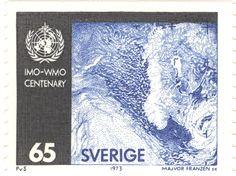 "Sweden 65ö ""The Meteorological Organizations 100 years"" - IMO-WMO 1973. Majvor Franzén sc."