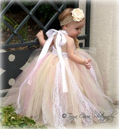 Tutu Dress, Flower Girl Dress Beige Mauve Antique Style 12 month to 2 Toddler. $58.00, via Etsy.