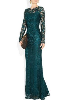 Fall under the spell of darkly romantic lace with Dolce & Gabbana's floor-grazing deep-teal gown.