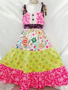 Girls Floral Garden Ruffle Dress Size 10 Handmade; Everyday Use 100% cotton #Handmade #Everyday