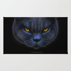 Big Cross Cat Area & Throw Rug by Paul Stickland for StrangeStore - $28.00 #crosscat #cats #funnycats