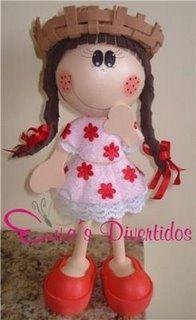 Little gal doll wearing a straw hat, and dress...cute...follow photo...made in fun foam
