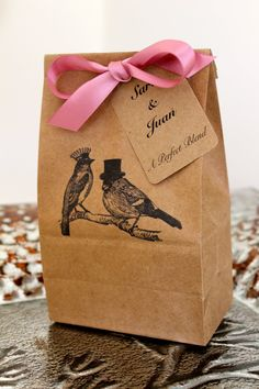 Personalized Kraft Favor Bags with Customized Tags  - Love Birds - Set of 10 - Two Bag Sizes Available - You Choose Ribbon Color. $17.50, via Etsy.