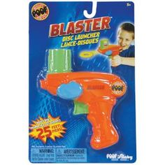 Blaster Disc Launcher - Launch discs over 25 feet with the easy to use Blaster Disc Launcher! Soft foam discs for either indoor or outdoor fun! Easy to load and re-load. Includes 9 discs.