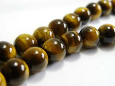 Round Tiger Eye Real Gemstone Beads 6 mm by KolibriBeadSupplies