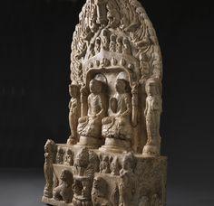 中國古代藝術展由埃斯凱納齊 埃斯凱納齊 大理石石碑 身高:69.2厘米 北齊時期,刻有日期對應553