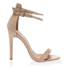 CeCe Nude PU Strappy Heeled Sandals ($32) ❤ liked on Polyvore featuring shoes, sandals, heels, high heels, sapatos, platform heel sandals, nude high heel sandals, high heel shoes, heeled sandals and nude high heel shoes