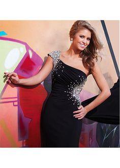 Stunning Stretch Charmeuse One Shoulder Neckline Floor-length Evening Dress Prom Dresses