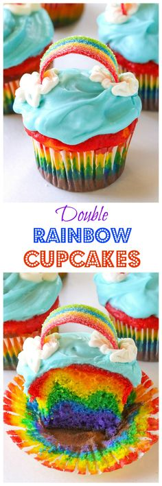 Double Rainbow Cupcakes - Beautiful rainbow inside and another rainbow on top! the-girl-who-ate-everything.com