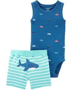 Baby Boy 2-Piece Shark Bodysuit  amp  Short Set  a172ac6056