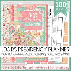 2015 Relief Society Presidency Planner (Printable) | This downloadable planner includes a 100 page PDF file + a 6 page PDF with Covers for each member of the Presidency + a sheet of printable sticker/divider tabs!