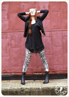 Filigree Art Nouveau Leggings by Carousel Ink   by Carouselink, $36.00