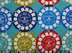 Melody Miller Fabric - Ruby Star Rising Collection Viewfinders Blue    This would make a great set of pillows for Mom's cabin, given the family history!