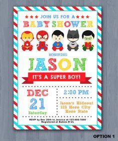 Superhero Baby Shower Invitation Super baby shower by KidzParty