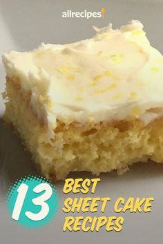 "13 Sheet Cakes You Won't Want to Share | ""The ever-reliable, shareable, and scrumptious sheet cake is here to stay. And there are numerous ways to customize your cake — whether it's a coconut poke confection or a buttery single-layer slice dotted with sour cherries. Discover why these classic cakes have earned top marks in our community of home cooks with thirteen of our favorite sheet cake recipes."" #cakerecipes #bakingrecipes #dessertrecipes #cakes #cakeideas"