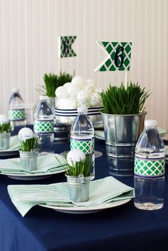 Cute golf table setting for a golf themed party! Check out more golf tips, ideas, and quotes . Golf Centerpieces, Golf Party Decorations, Decoration Table, Centerpiece Ideas, Golf Day, Golf Theme, Soccer Theme, Project Nursery, Deco Table