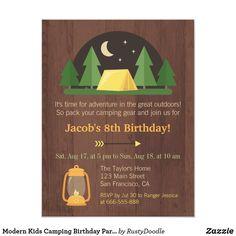 Modern Kids Camping Birthday Party Invitations