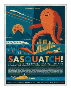 "Sasquatch! Music Festival 2010  May 29/30/31, 2010- The Gorge  offset print on heavy uncoated stock  measures 18 inches X 24 inches- a ""ready made"" frame size (avoid custom framing costs with this print)  signed limited edition  artist:  Don Clark (Invisible Creature)"