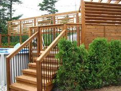 Above Ground Pool Decks, In Ground Pools, Patio Plans, Deck Design, Backyard Landscaping, Landscaping Ideas, Garden Bridge, Sweet Home, Stairs