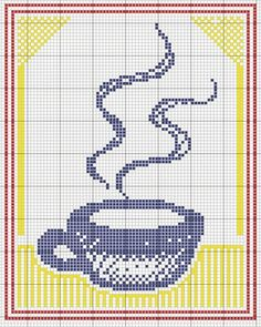 coffee pattern / chart for cross stitch, crochet, knitting, knotting, beading, weaving, pixel art, micro macrame, and other crafting projects.