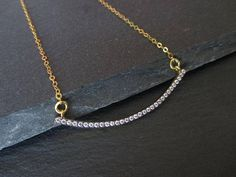 CZ Pave Vermeil 24kt Gold Over Sterling Silver Crescent Gold Plated Necklace