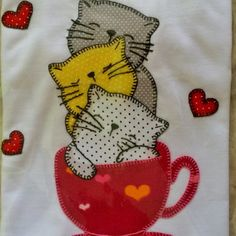 Applique Embroidery Designs, Applique Patterns, Applique Quilts, Baby Applique, Machine Applique, Quilting Projects, Sewing Projects, Motifs D'appliques, Kitten Drawing