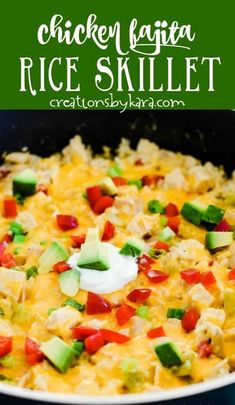 In a hurry but looking for a tasty Mexican dinner recipe the whole family will love? Chicken Fajita Rice is made in one skillet, and is loaded with chicken, peppers, and other simple ingredients. Sour cream and cheese make it extra creamy and delicious! #chickenskillet #chickenfajitarice #chickenfajitaskillet #chickenrecipe -from Creations by Kara