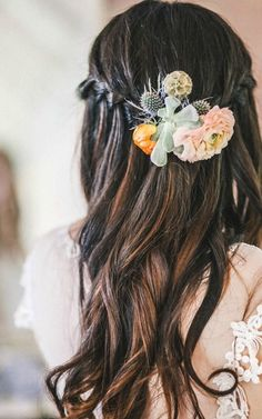 Find inspiration from this beautiful outdoor wedding held at an organic farm. Who would have thought an arrangement of succulents, cactus', and picked flowers could look so good in this braided hairstyle?