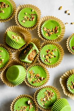 Matcha coconut almond butter cups filled with creamy oozy almond butter. With easy options for vegan, paleo, and refined-sugar-free. Best Gluten Free Desserts, Delicious Desserts, Dessert Recipes, Healthier Desserts, Cookie Recipes, Almond Butter, Coconut Sugar, Peanut Butter, Superfood Recipes