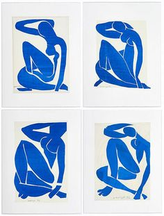 Henri Matisse (French, 1869-1954), Blue Nudes I, II, III and IV, 1952. Gouache on paper, cut and pasted.