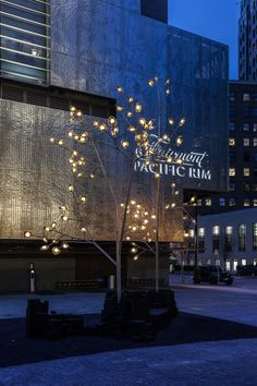 Vancouver-based design and manufacturing house Bocci unveiled a massive public art installation in the plaza of the Fairmont Pacific Rim, a luxury hotel. Tree Lighting, Outdoor Lighting, Light Installation, Art Installations, Urban Furniture, Outdoor Furniture, Palm Beach Gardens, Exterior Lighting, Lighting Solutions