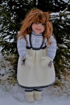 Tyra, nisse jente, girl gnome, about 63 cm tall, Needle felted face,