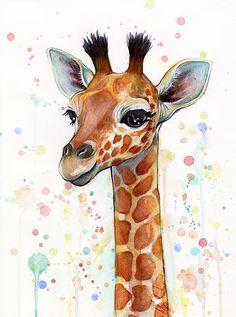 Baby Giraffe Watercolor Painting Print By Olga Shvartsur