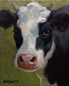 "Cow art kitchen restaurant decor ""June"" Oil on canvas"