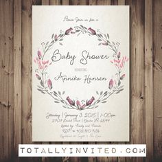 Printable Baby Shower invitation Watercolor wreath Bridal simple elegant Script classic or DiY Printable linen texture coral pastel