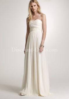 A-Line Strapless Floor Length Chiffon Bridemaid Dress style 26539