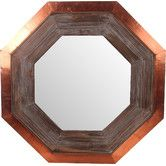 Found it at Wayfair.ca - Wood & Copper Hexagon Wall Mirror