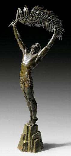 """""""La Palme de la Victoire"""" Pierre Le Faguays (born Nantes, France 1892-1962) Important, rare, French, early 20th century deco bronze, large edition c 1925. Original green patination set on green base. Signed by Pierre Le Faguays, incised cire perdue fondeur, bearing stamp 'Susse Frères edt. Paris.' Exhibited, studied and member of the Paris Salon, France. Size: approx. 115 cm high/45 inches high. Private collection."""
