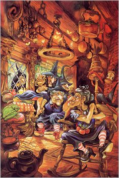 The Witches by Josh Kirby My favourite of the Discworld characters Discworld Characters, Dragonriders Of Pern, Terry Pratchett Discworld, Discworld Map, Witch Party, Museum Art Gallery, Fanart, Creepy Pictures, Halloween Art