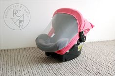 BUBBLEGUM Bug-Me-Not Infant Car Seat Cover by PerfectlyCloudy Keeps all the bugs out and happy, healthy babies in.