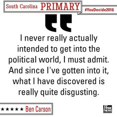 .@RealBenCarson talked about the ugliness of the political world. #SCPrimary by foxnews