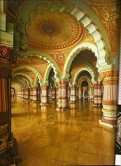 Darbaar hall of mysore palace ... Very beautiful and having multiple pillars which are beutifully painted and carved.. it was used as public hall by Maharajas to participate in dashera festival with people or other festivities.. this hall also decorated with paintings of raja Ravi Verma..