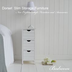 Slim Storage for your bedside your bed. Only 25 cm wide and deep, the Dorset is perfect for narrow spaces