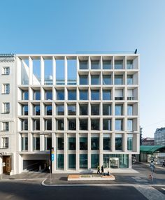 of Post Headquarter Vienna / Schenker Salvi Weber + - 20 Image 20 of 32 from gallery of Post Headquarter Vienna / Schenker Salvi Weber + Photograph by Lukas Schaller Facade Architecture, Contemporary Architecture, Facade Design, House Design, Concrete Facade, Glass Facades, Building Facade, Modern Buildings, Vienna