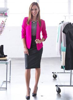 Loving this bright pink blazer for a chic work outfit...for more business casuals ideas that are not boring follow this board!