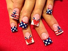 Sailor nails by from Nail Art Gallery Acrylic Nail Art, Acrylic Nail Designs, Sailor Nails, Flare Nails, Duck Feet Nails, Wide Nails, Patriotic Nails, Different Nail Shapes, Nautical Nails